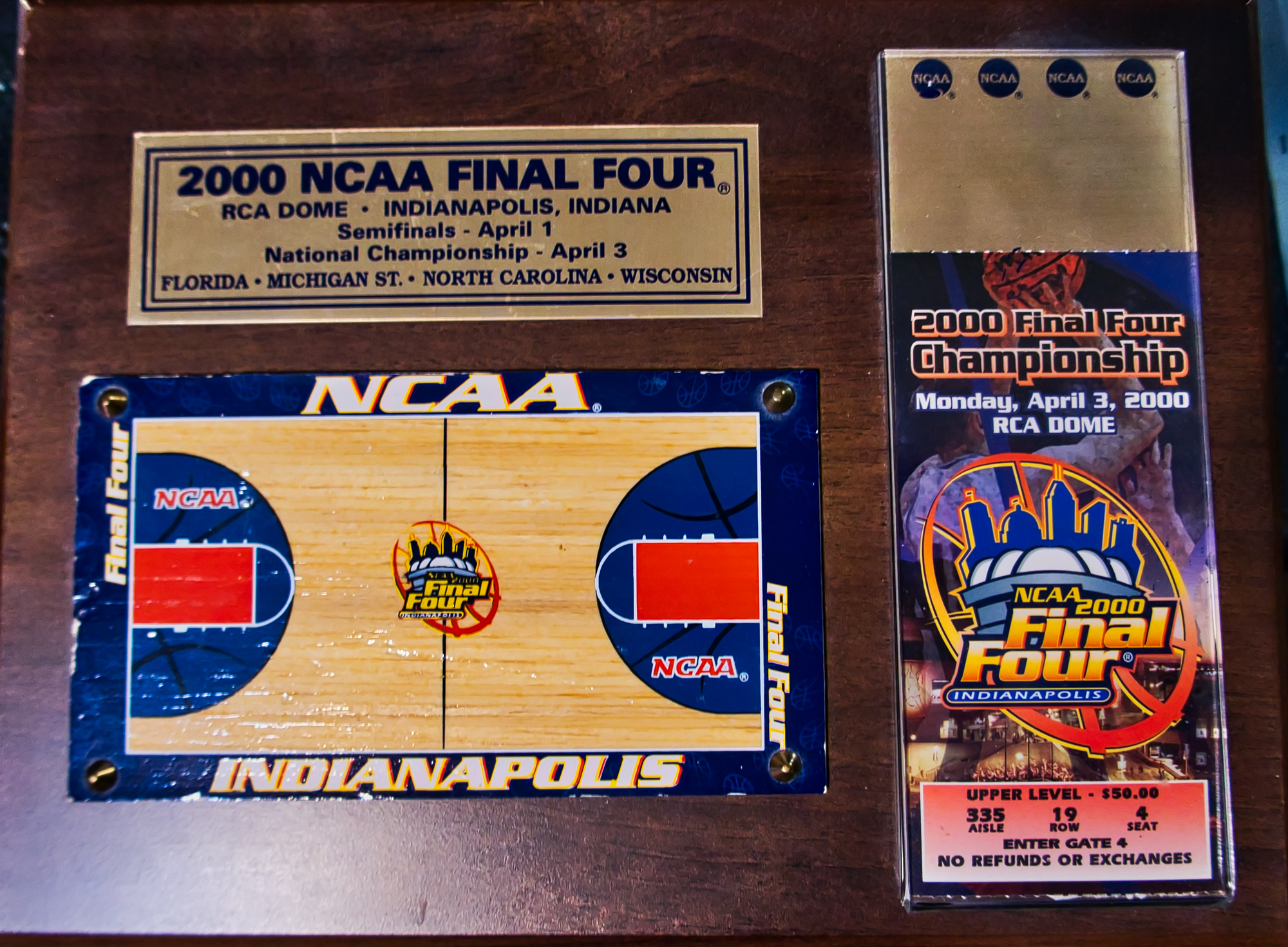 2000 Final Four Plaque with Ticket