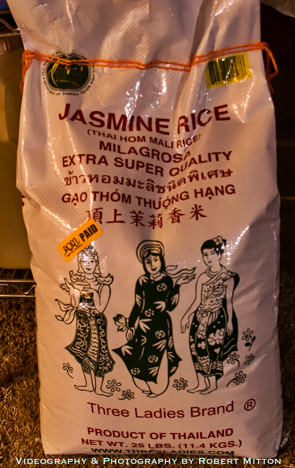 Three Ladies Brand Jasmine Rice in a 25 Pound Bag
