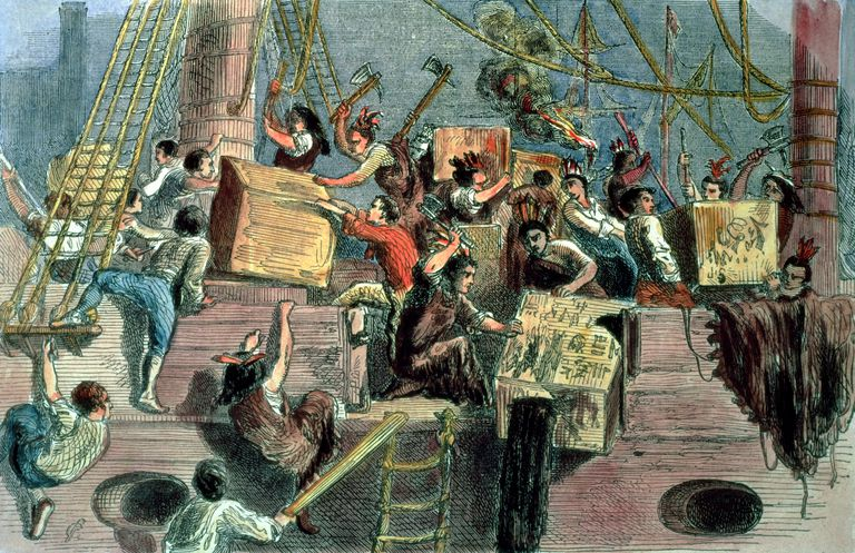 Picture rendition of the Boston Tea Party