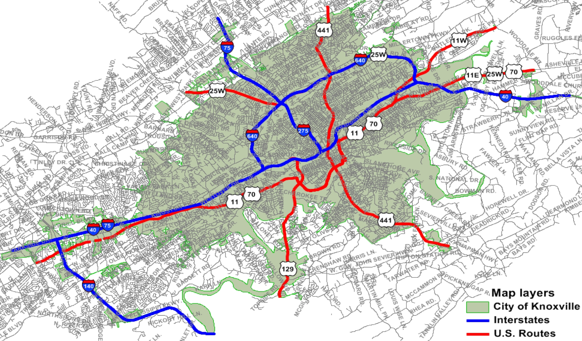 Interstate Highway System Knoxville TN