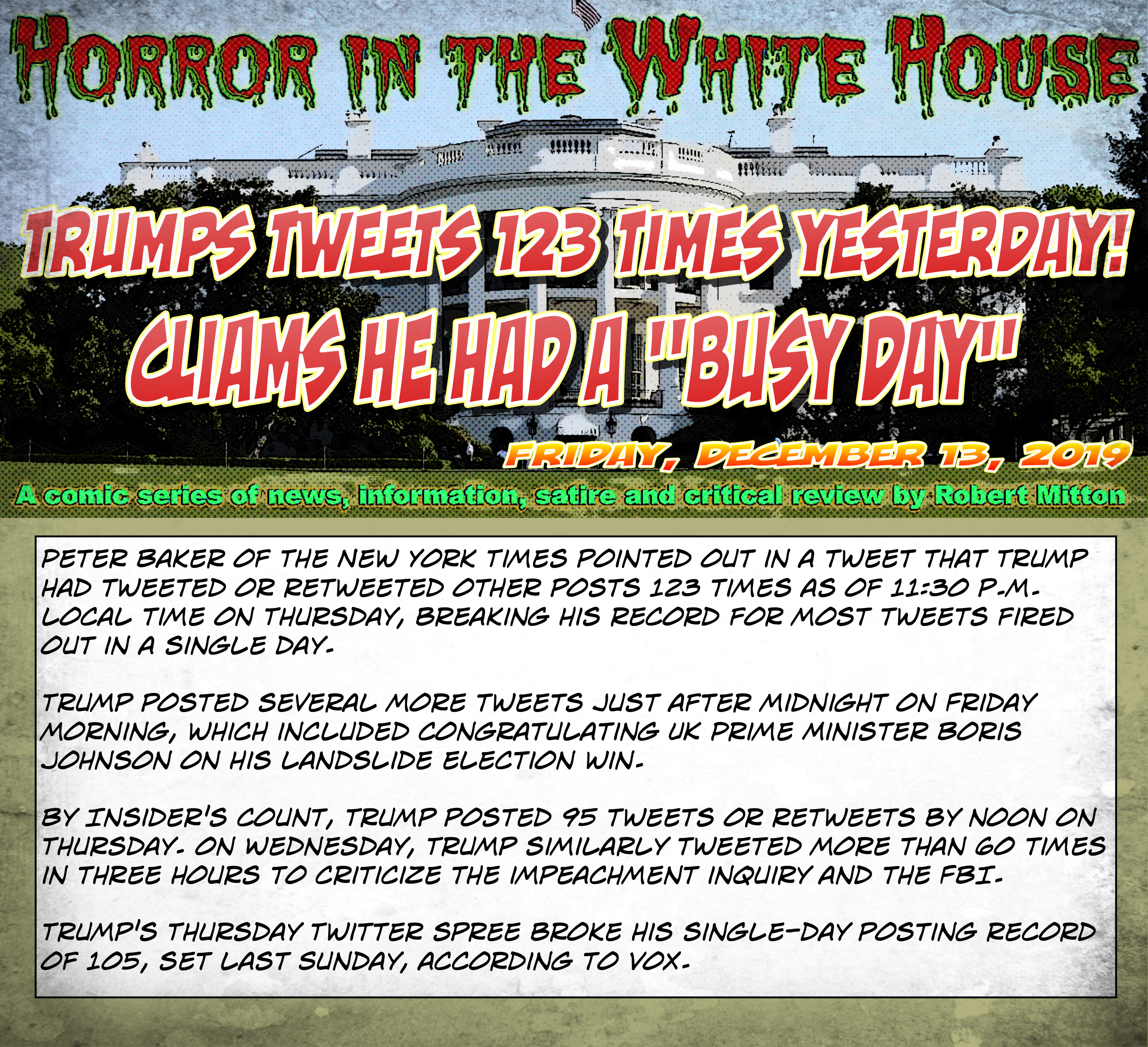 The Horror Daily - Friday, December 13, 2019 - Trump's Tweets
